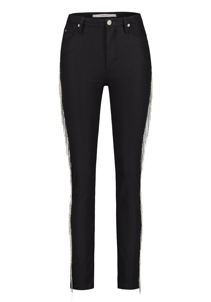 Homage - Clean Skinny Jeans With Metallic Fringe Black