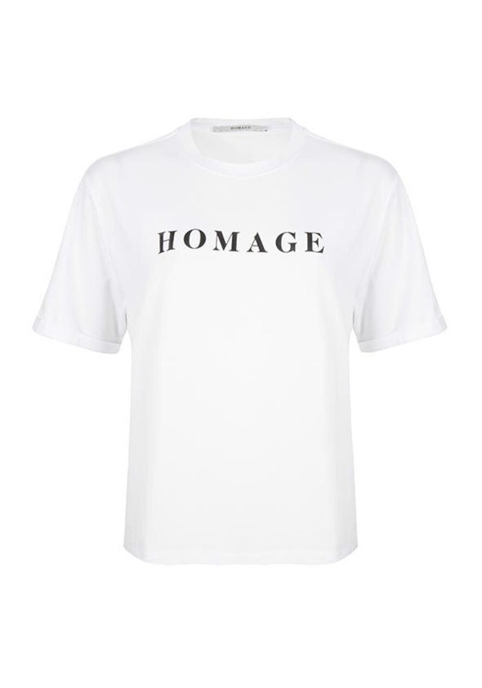 Homage - Straight fit logo tee white