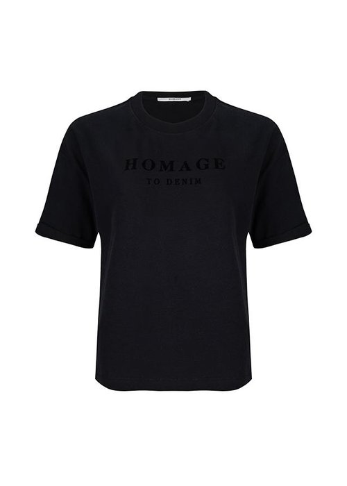 Homage Homage - Straight fit logo tee zwart