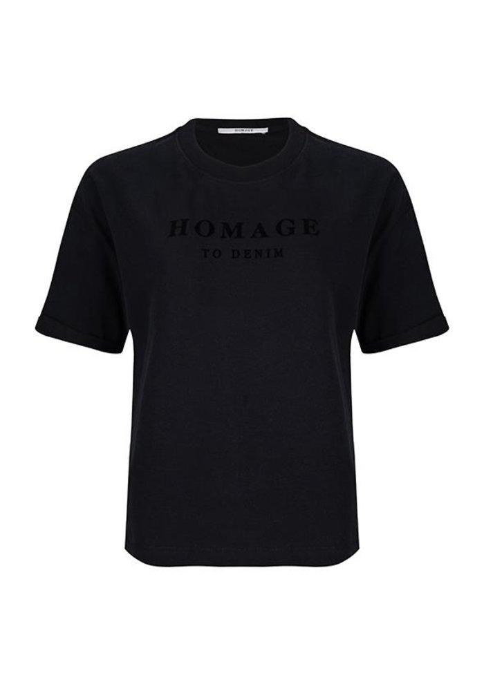 Homage - Straight fit logo tee zwart