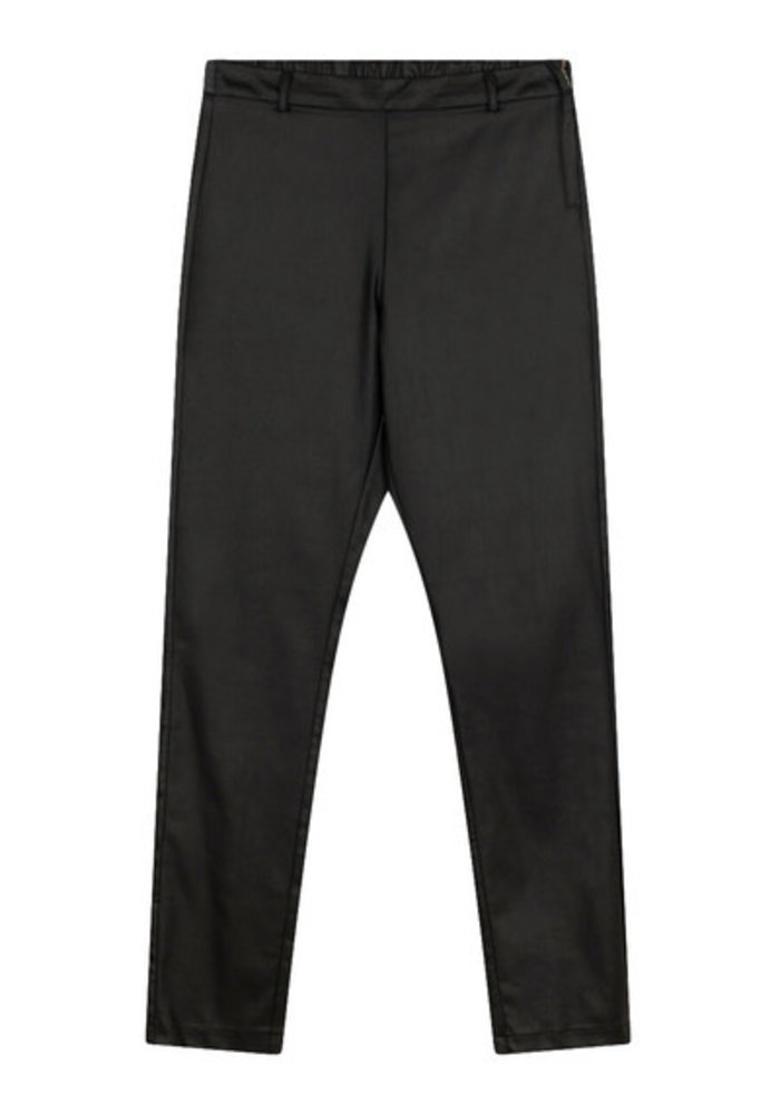 Alix - Ladies Woven Fitted Coated Pants Black