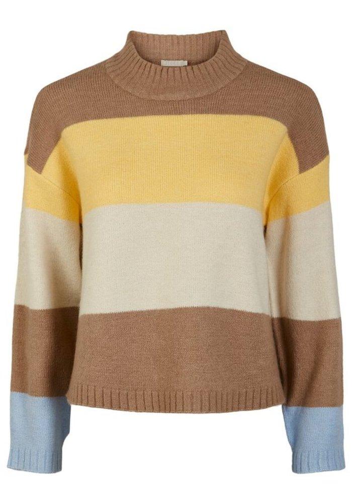 Pieces - Sille Neck Knit Natural Stripes Golden