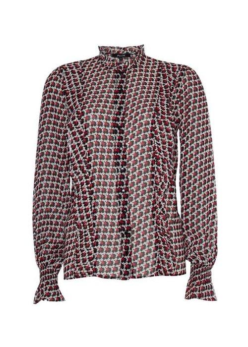 Alix Alix - Ladies woven graphic star chiffon blouse Warm Red