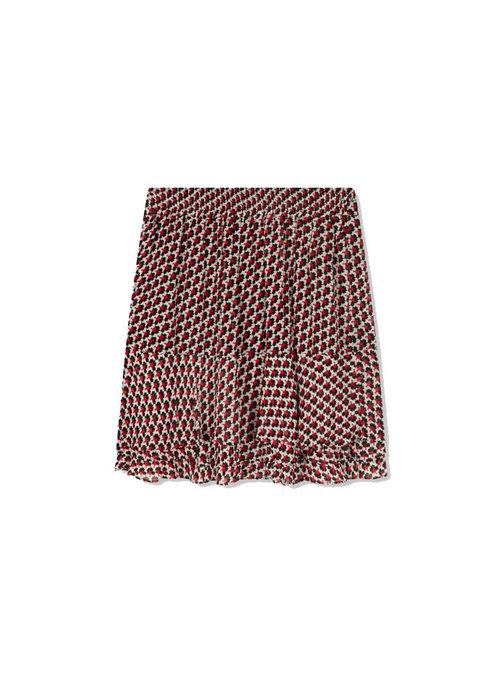 Alix Alix - Ladies Woven Graphic Star Chiffon Skirt Warm Red