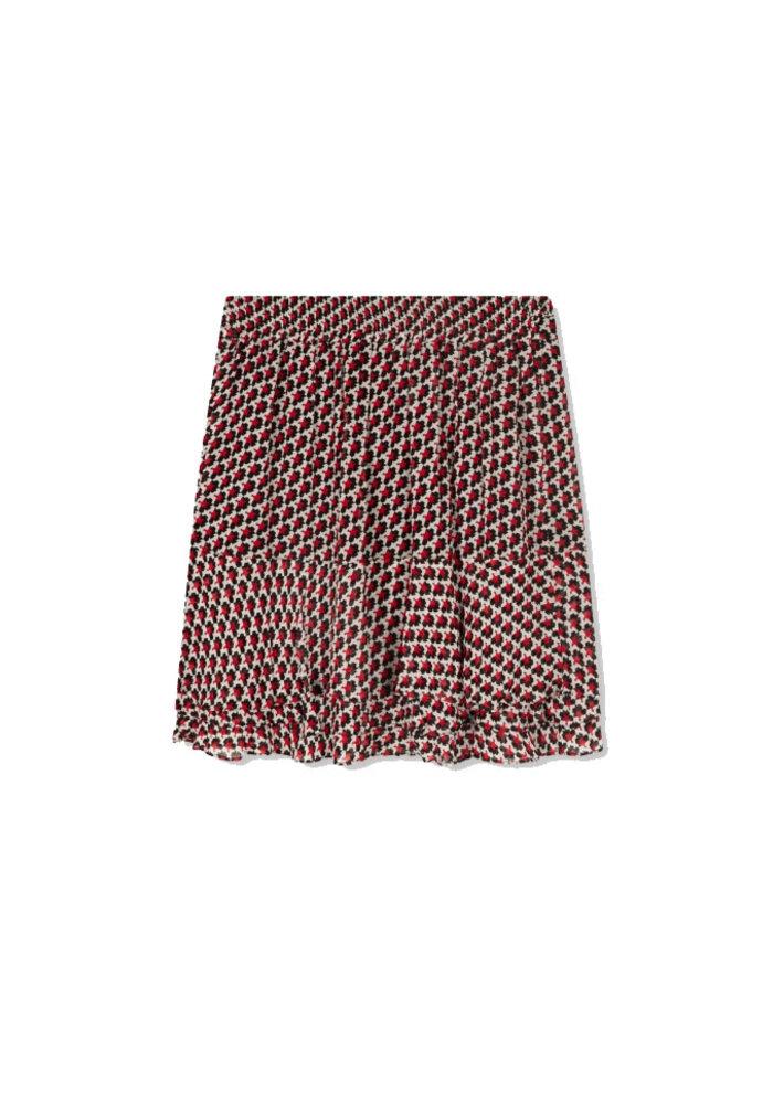 Alix - Ladies Woven Graphic Star Chiffon Skirt Warm Red