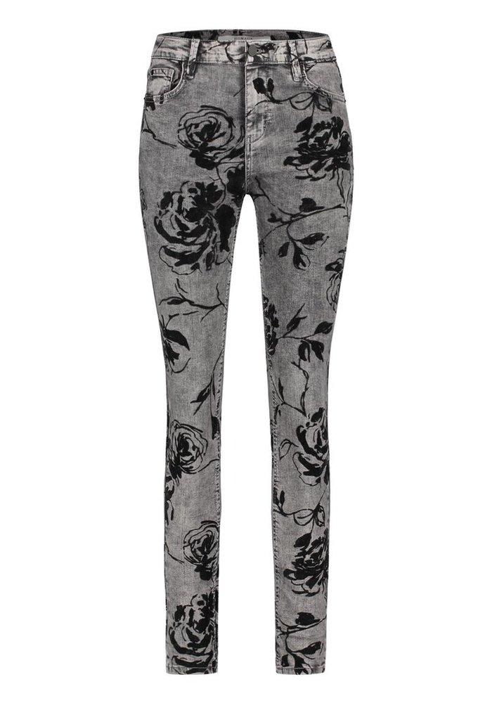 Homage - Flock Printed Flower Slim Jeans Random Grey