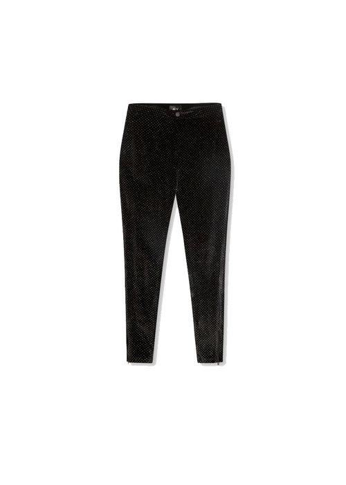 Alix Alix - Ladies woven glitter dot velvet skinny pants Black