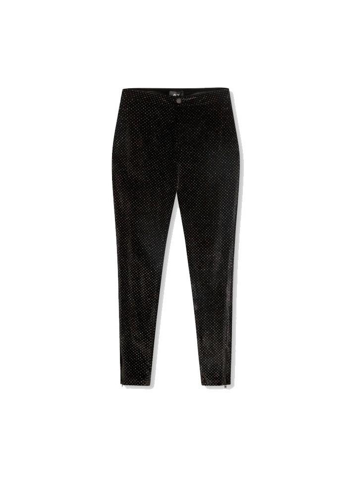 Alix - ladies woven glitter dot velvet skinny pants Black