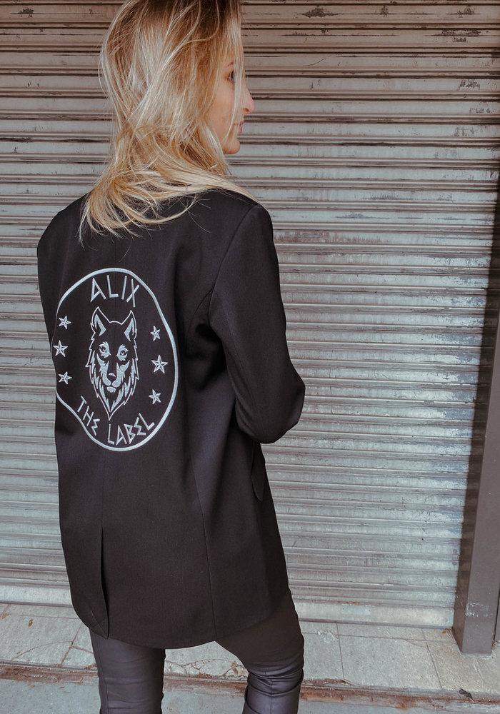 Alix - ladies woven wolves blazer Black