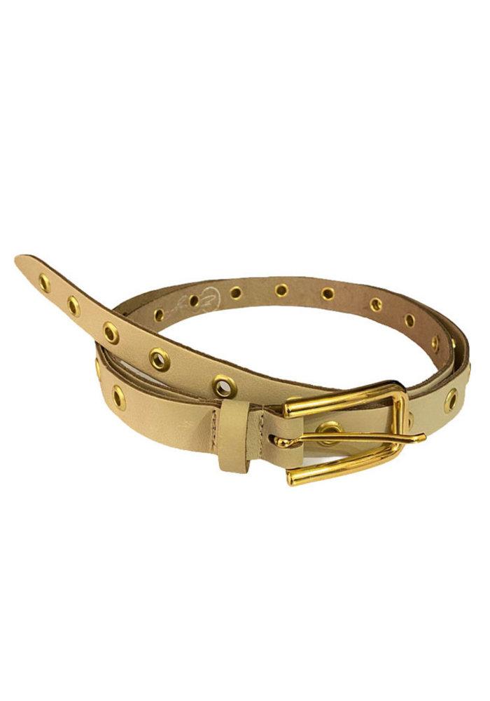 Elvy - Eyelets Belt Beige Gold
