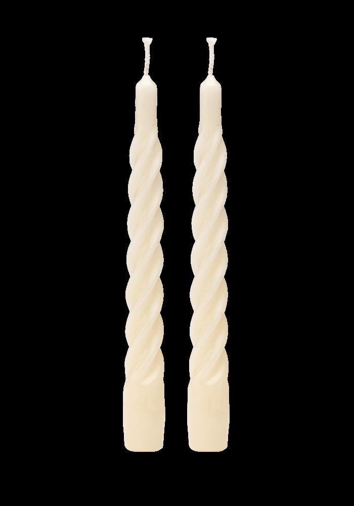 ANNA + NINA - SHINY WHITE TWISTED CANDLE(PER STUK)