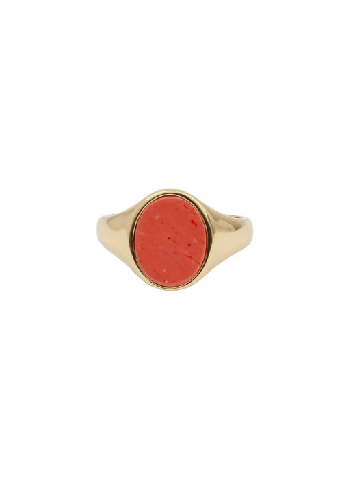 ALL THE LUCK IN THE WORLD Alltheluck - Cherie Signet Oval Orange Ring