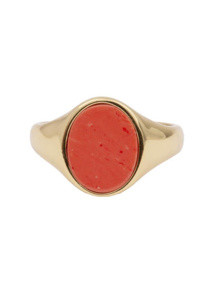 Alltheluck - Cherie Signet Oval Orange Ring