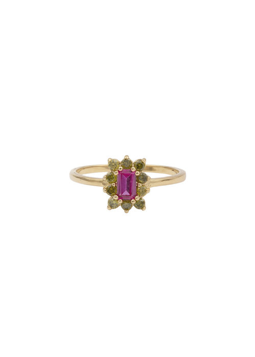 ALL THE LUCK IN THE WORLD Alltheluck - Cherie rectangle flower pink green ring