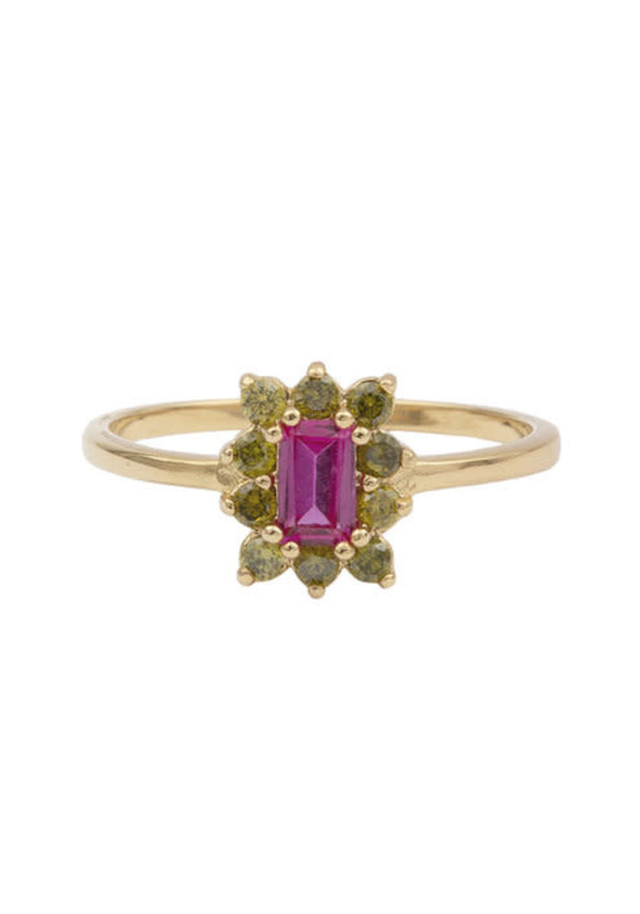 Alltheluck - Cherie rectangle flower pink green ring