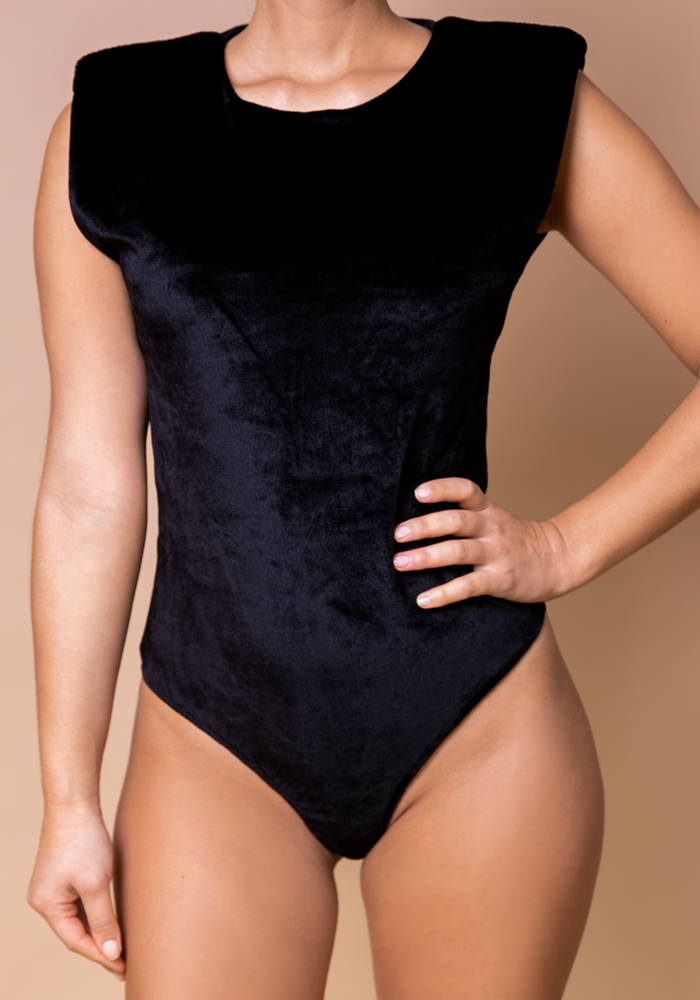 Body by Olcay - Padded Velvet Crewneck Body Black