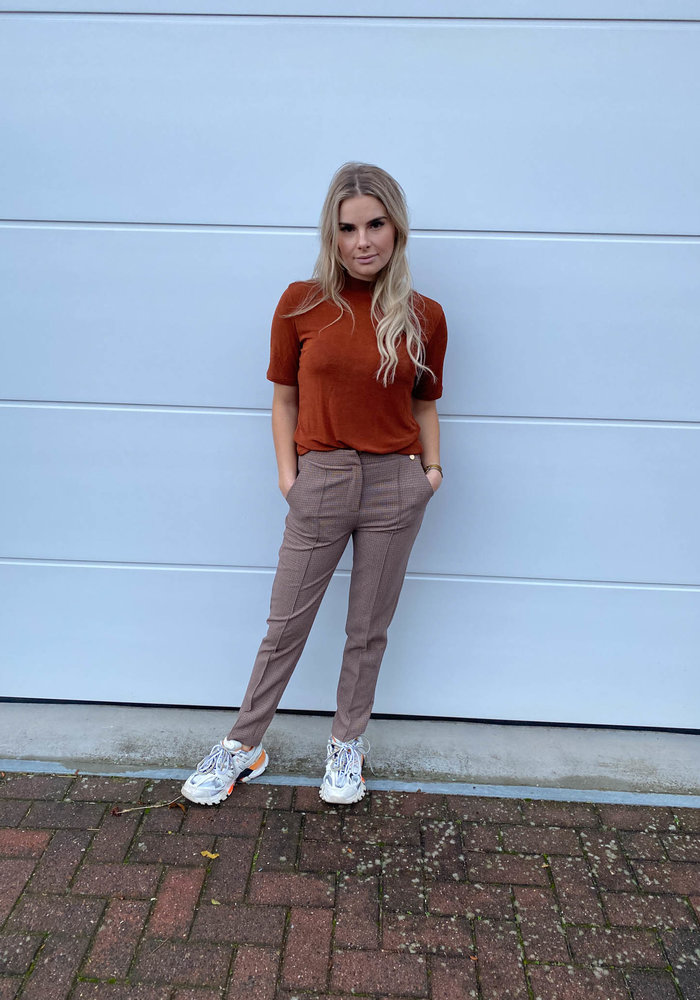 Things I Like Things I Love - Shimmy High Neck Top Rust