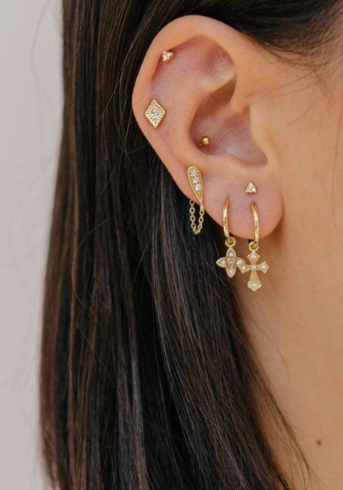 Eline Rosina - Zirconia drop chain earrings