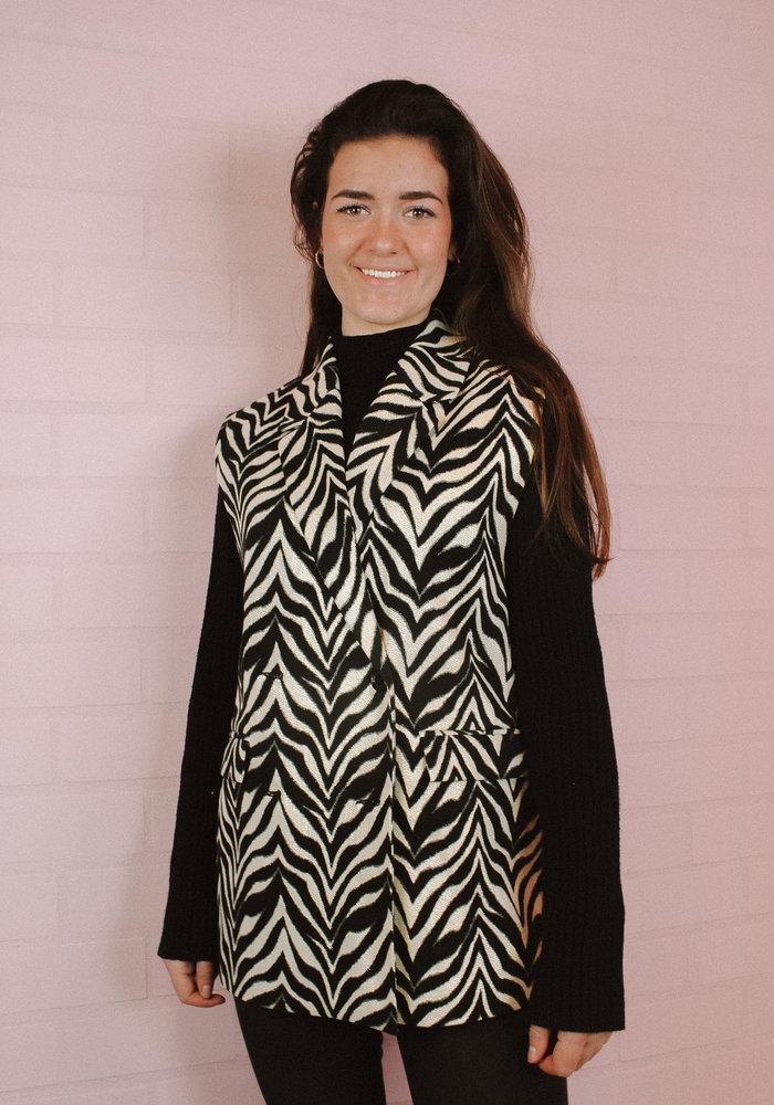 Alix the Label - Ladies Woven Zebra Stretch Waistcoat