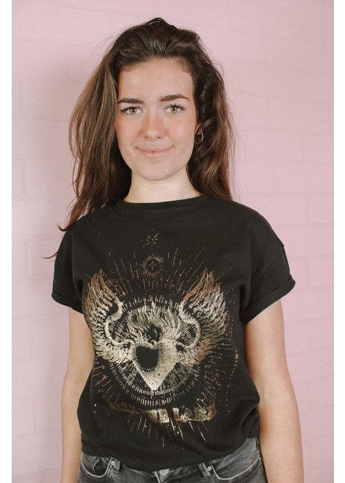 Alix Alix -  ladies knitted acid wash T-shirt Black