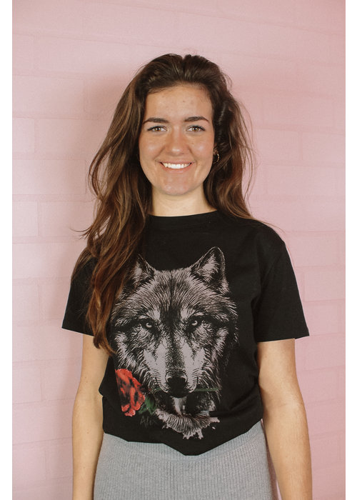 Alix Alix - Ladies knitted wolves T-shirt Black