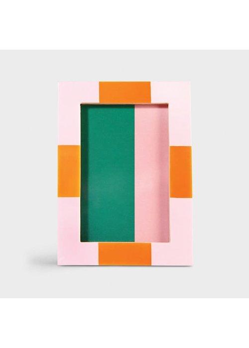 &Klevering - Photoframe check rectangle pink