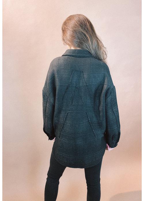 Alix Alix - ladies woven oversized shiny boucle jacket black