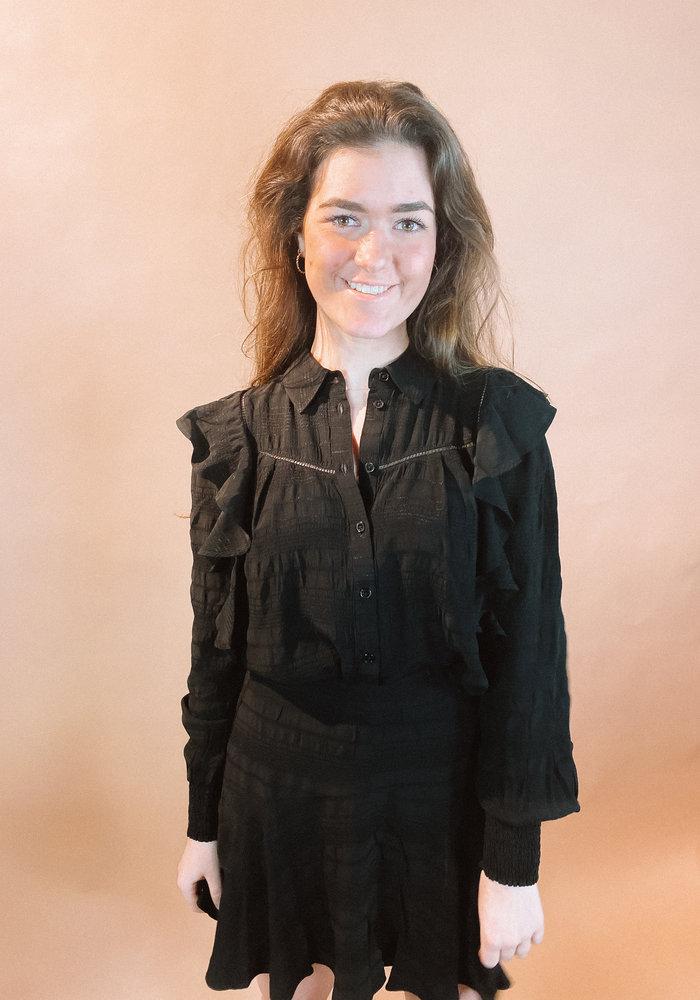 Alix - ladies woven seer sucker stripe top black