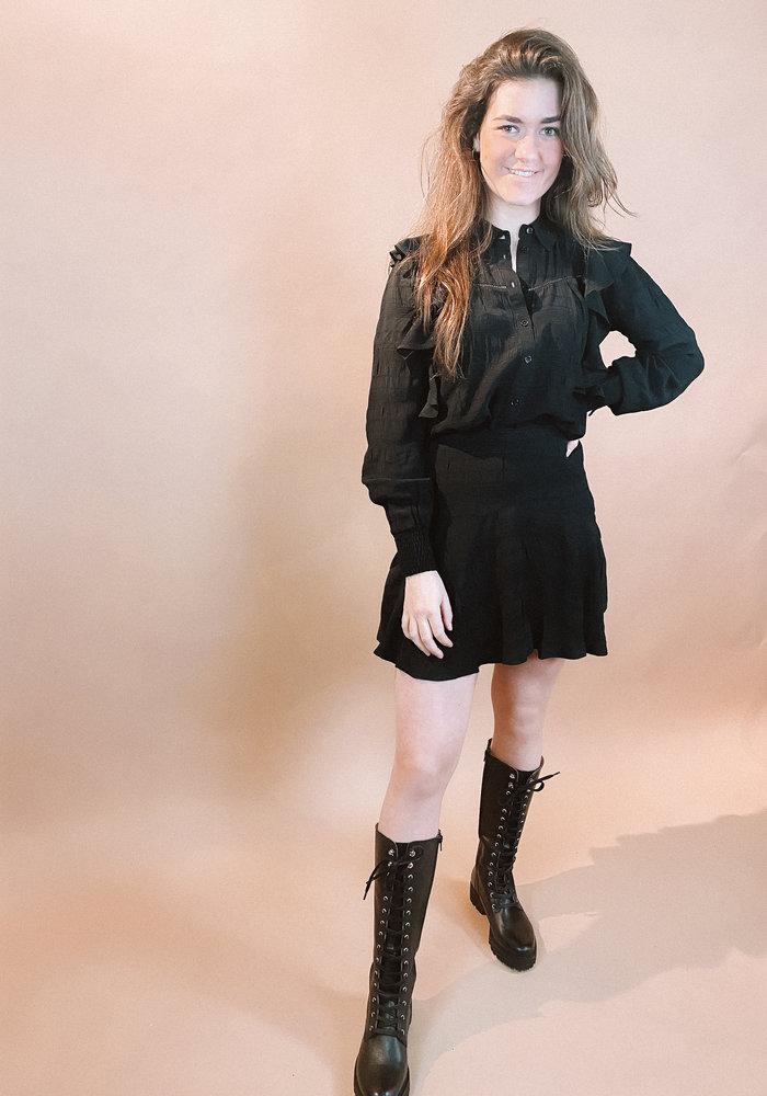 Alix - ladies woven seer sucker stripe skirt black