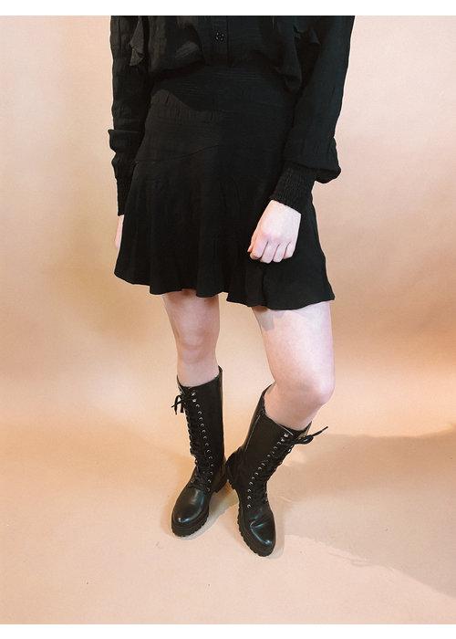Alix Alix - ladies woven seer sucker stripe skirt black