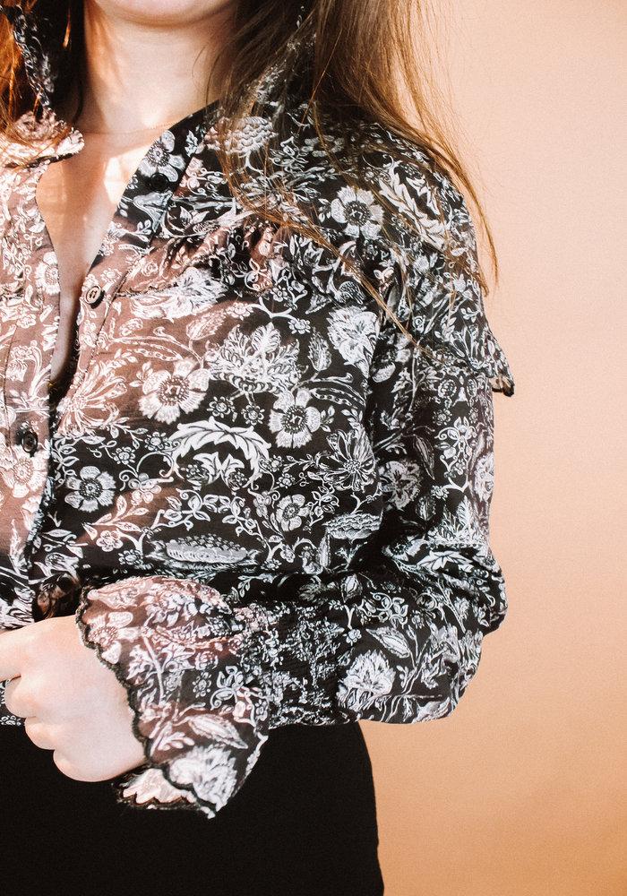 Alix - ladies woven flower linen blouse black