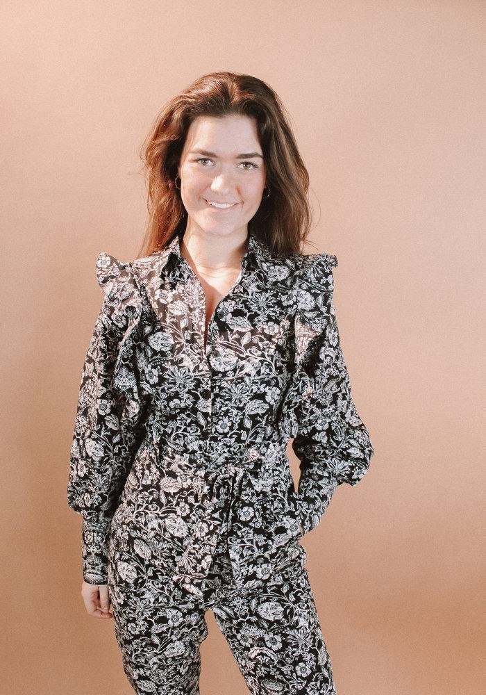 Alix - ladies woven ornamental flower jumpsuit black
