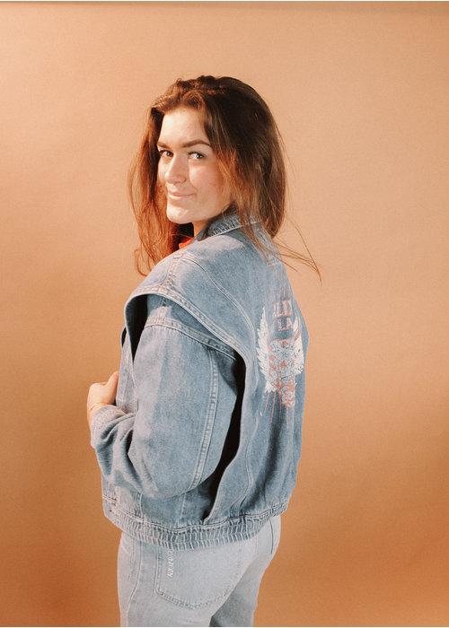 Alix Alix - ladies woven denim biker jacket denim blue