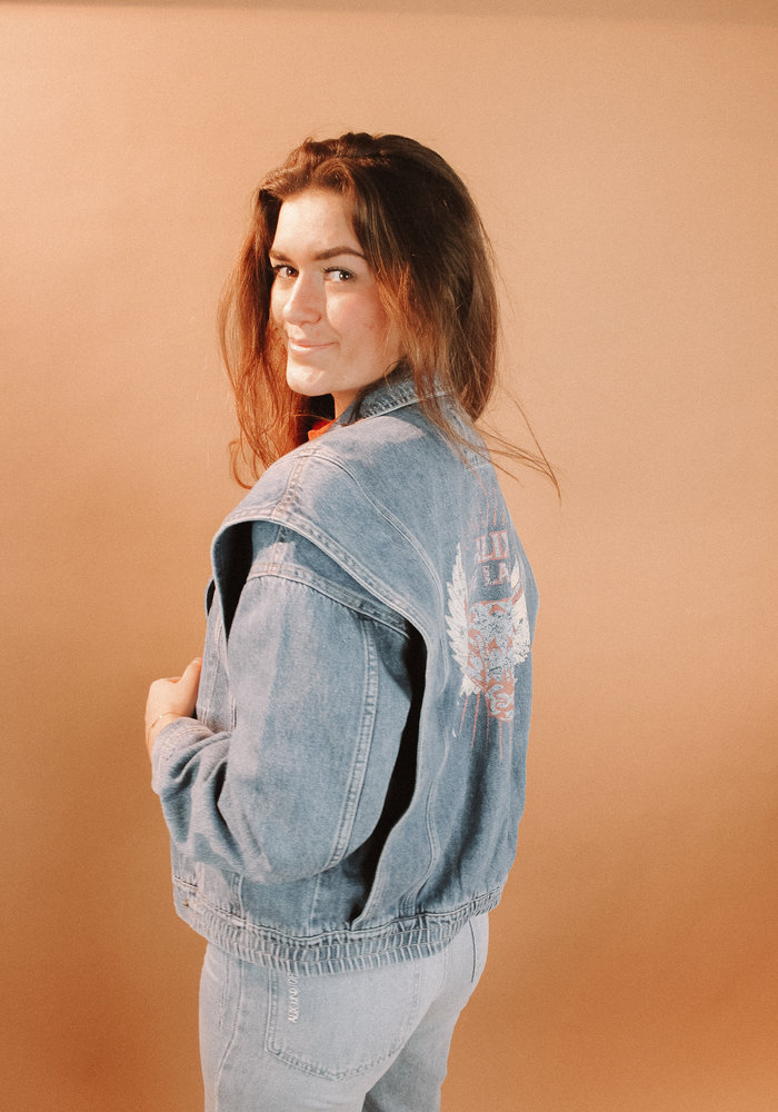 Alix - ladies woven denim biker jacket denim blue