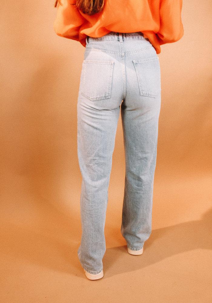 Alix - ladies woven wide leg jeans denim blue