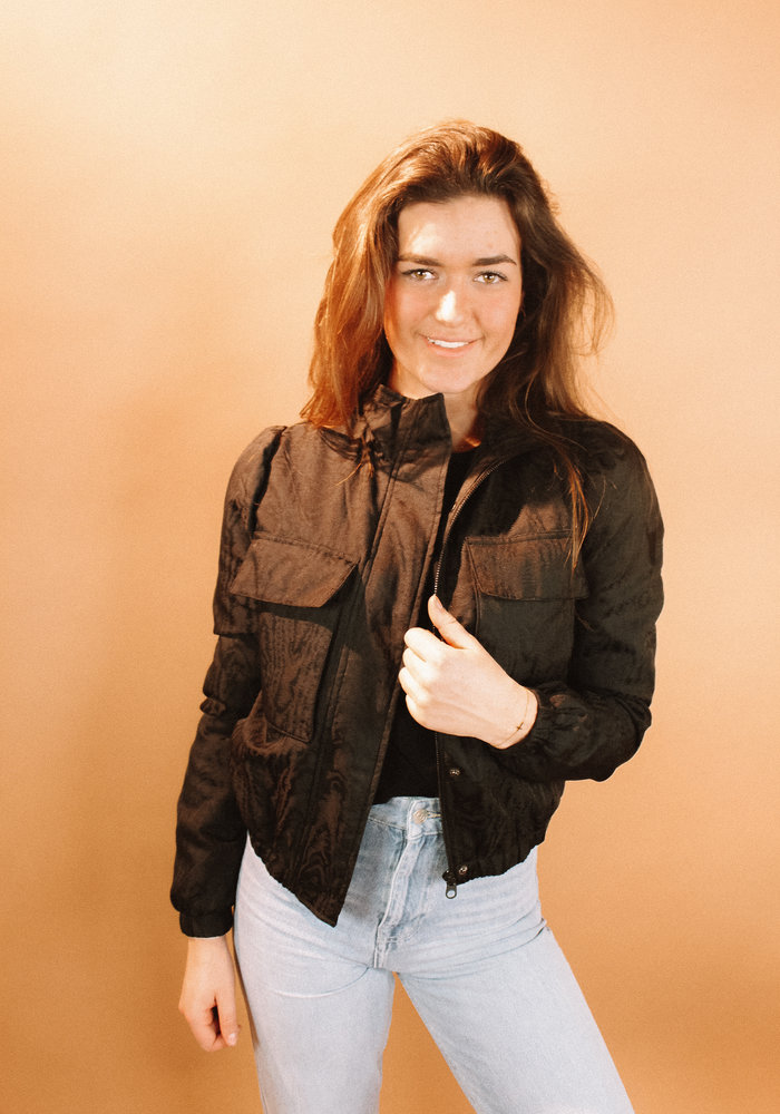 Alix - ladies woven wood grain jacket black