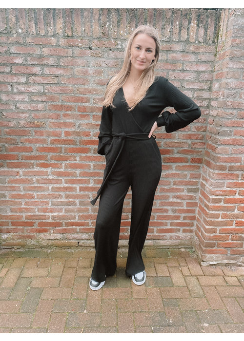 Alix Alix - ladies knitted firm rib jumpsuit black