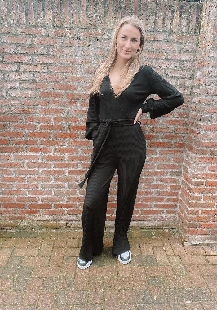 Alix - ladies knitted firm rib jumpsuit black