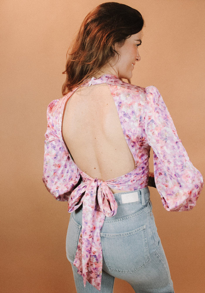 NAKD - Open Back Blouse Lilac Flower