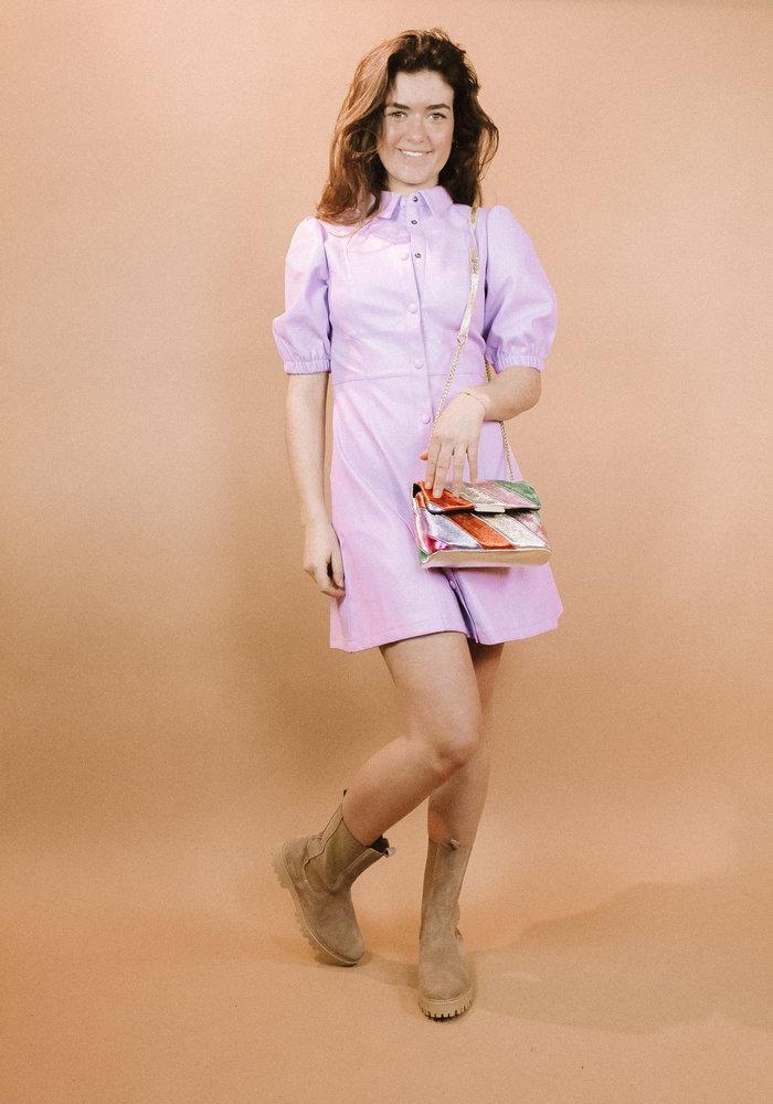 NAKD - Puff Sleeve Pu Dress Lilac