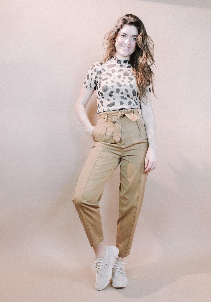 NAKD - Short Sleeve Mesh  Top Leopard Print