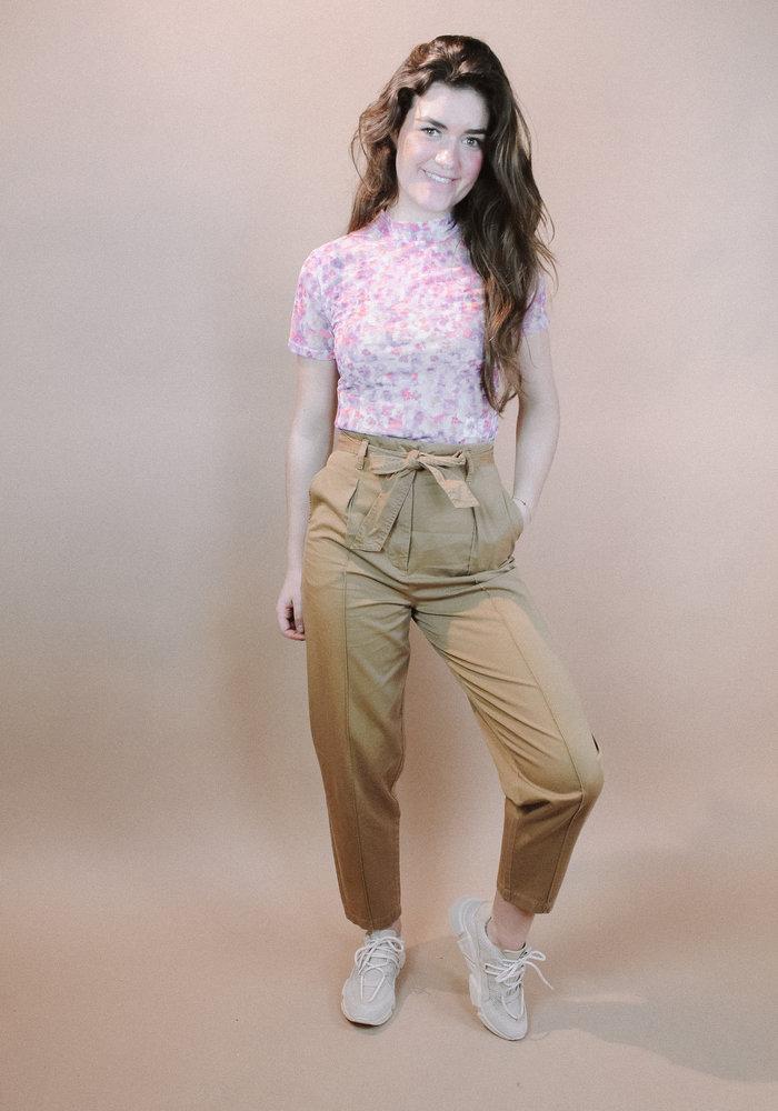 NAKD - Short Sleeve Mesh  Top Lilac Flower