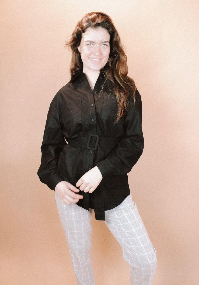 NAKD - Oversized Wool Blend Shirt Jacket Black