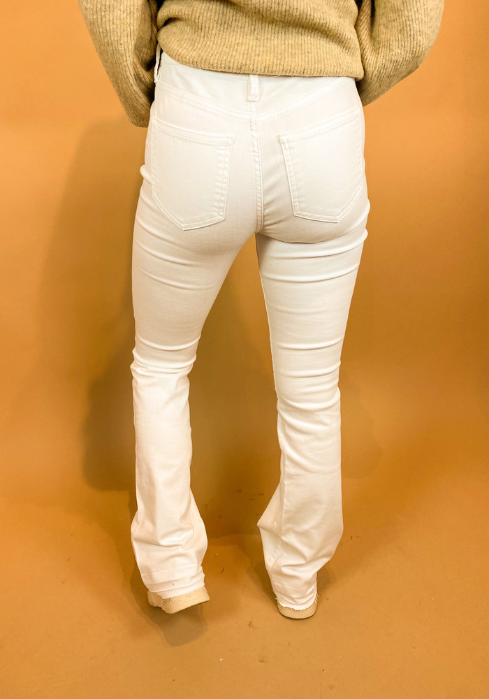 Homage - Flared Jeans With Raw Edge White