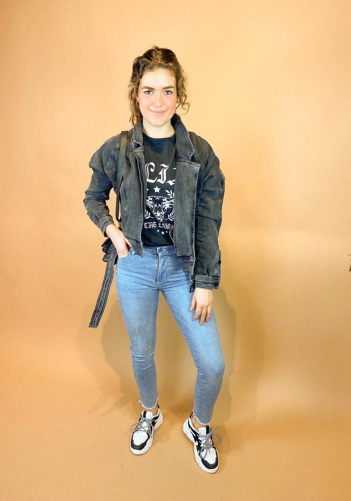 Homage - Retro Denim Jacket With Stretch - Washed Black