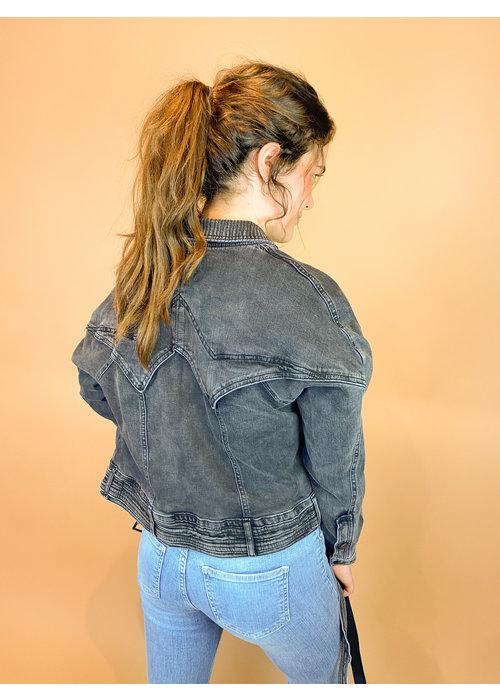 Homage Homage - Retro Denim Jacket With Stretch - Washed Black