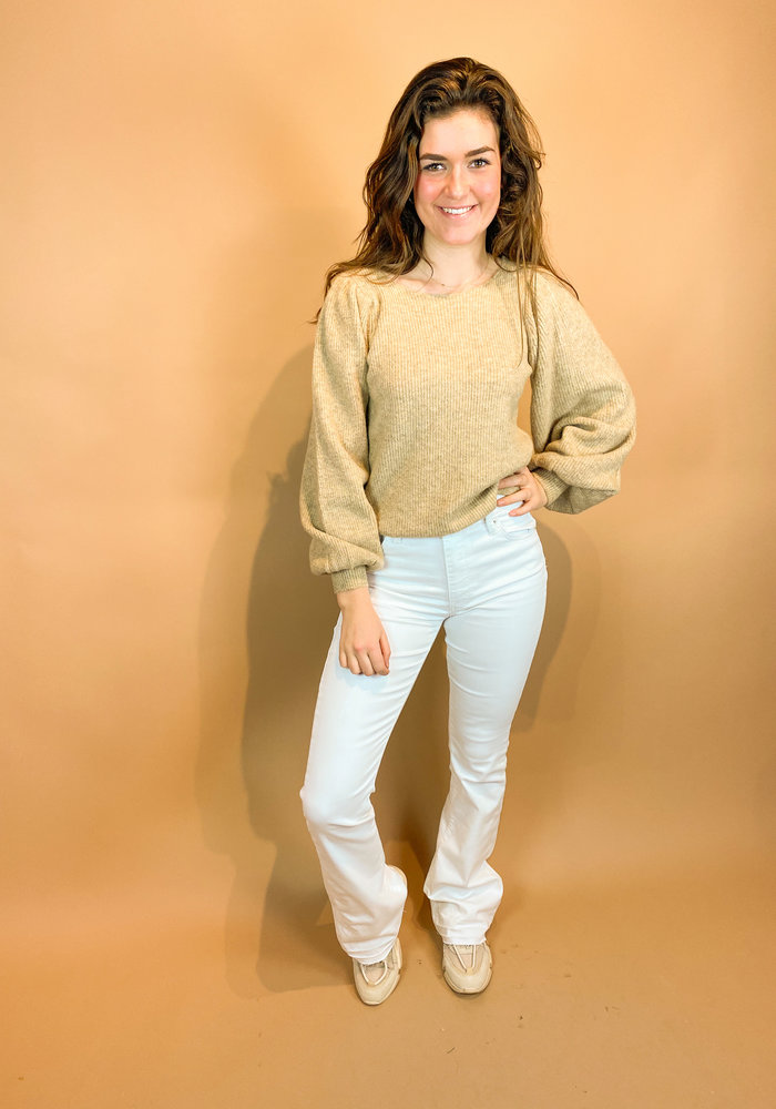 Homage - Jane - Colored Flared Jeans With Raw Edge - Off White