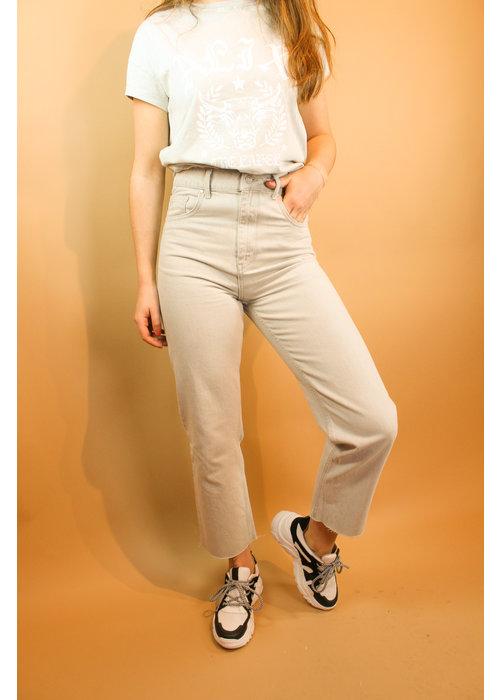Alix Alix - Ladies woven straight jeans pale grey