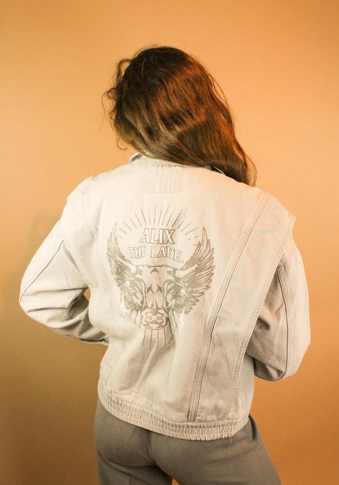 Alix - Ladies woven denim biker jacket pale grey
