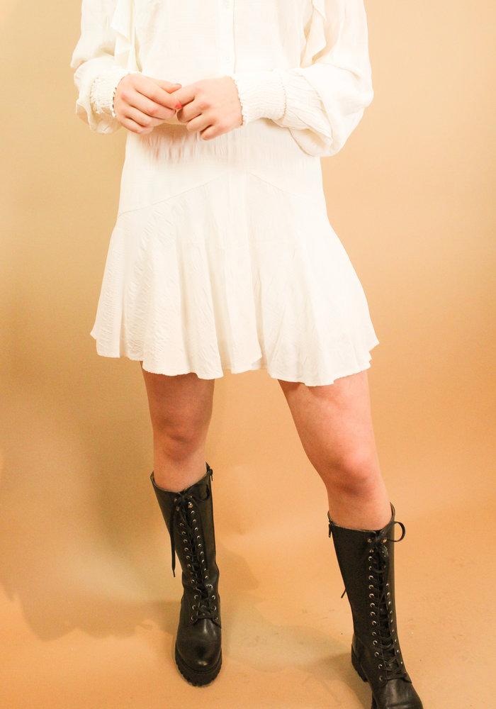 Alix - Ladies woven seer sucker stripe skirt soft white